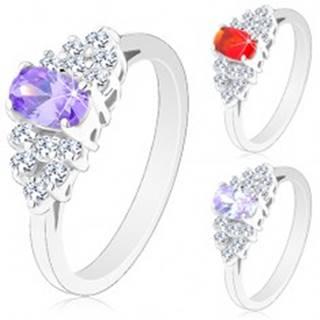 Lesklý prsteň so zúženými ramenami, brúsený ovál, zirkónová obruba čírej farby - Veľkosť: 50 mm, Farba: Svetlofialová