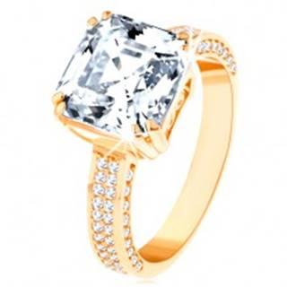 Luxusný zlatý prsteň 585 - veľký brúsený zirkón v ozdobnom kotlíku, zirkónové línie - Veľkosť: 62 mm