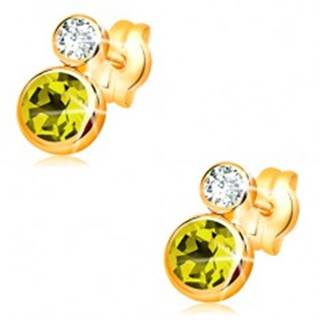 Náušnice v žltom 14K zlate - okrúhly zelený olivín a číry zirkón