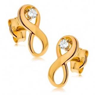"Náušnice v žltom 9K zlate - symbol ""INFINITY"" zdobený čírym zirkónom"