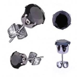 Náušnice z ocele 316L, strieborná farba, okrúhly zirkón čiernej farby, 3 mm