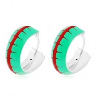 Náušnice zo striebra 925, obruče so zelenou glazúrou a červeným pásom, 14 mm