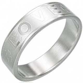 Oceľový prsteň - LOVE, štvorlístok - Veľkosť: 51 mm