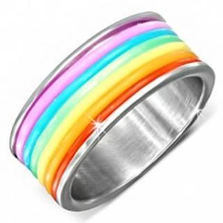 Oceľový prsteň s farebnými gumenými prúžkami - Veľkosť: 51 mm