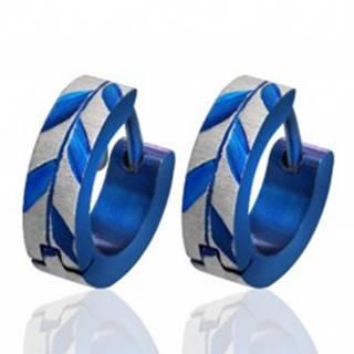 Okrúhle oceľové náušnice - brúsené listy Acacie, modré