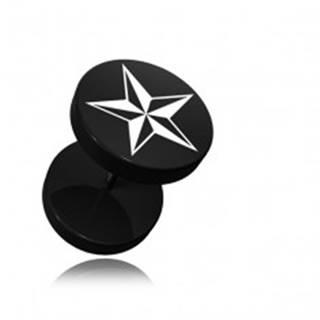 Okrúhly fake plug do ucha z akrylu čiernej farby, potlač hviezdice