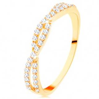 Prsteň v žltom 14K zlate - prepletené zirkónové vlnky, drobné číre zirkóniky - Veľkosť: 49 mm