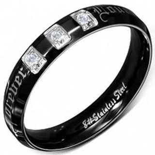 Prsteň z chirurgickej ocele, čierny, lesklý, zirkóny, Forever Love  - Veľkosť: 49 mm
