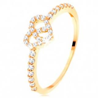 Prsteň zo žltého 14K zlata - zirkónové ramená, ligotavý číry obrys srdca - Veľkosť: 49 mm