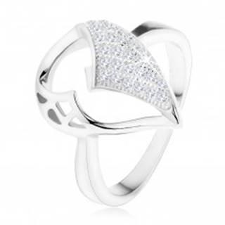 Strieborný prsteň 925, veľká slza s asymetrickým výrezom, zirkónová časť - Veľkosť: 49 mm