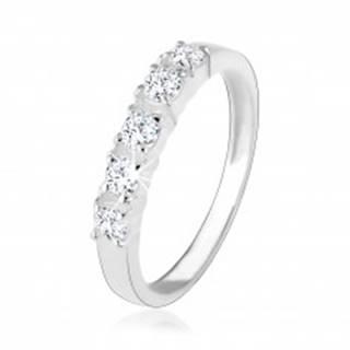 Strieborný zásnubný prsteň 925, päť vsadených čírych zirkónov - Veľkosť: 49 mm