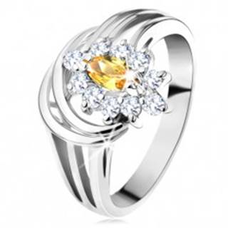 Trblietavý prsteň s rozdelenými ramenami, zrnkový zirkón v žltej farbe, číry lem - Veľkosť: 49 mm