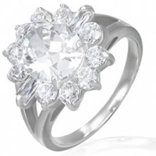 Zásnubný prsteň - mohutný zirkónový kvet - Veľkosť: 49 mm