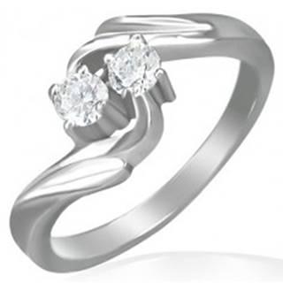 Zásnubný prsteň - stočený stred, dva zirkóny - Veľkosť: 48 mm