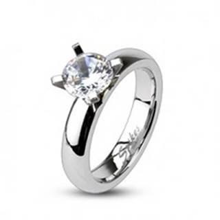 Zásnubný prsteň z ocele - vystupujúci veľký okrúhly zirkón - Veľkosť: 49 mm