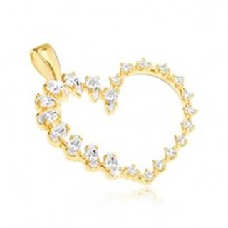 Zlatý prívesok - veľké srdce, slzičkové a okrúhle zirkóny v jednej línii