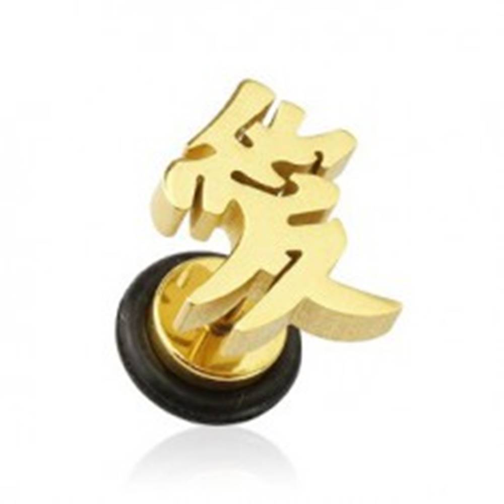 Šperky eshop Fake plug do ucha - zlatá farba ázijský symbol lásky