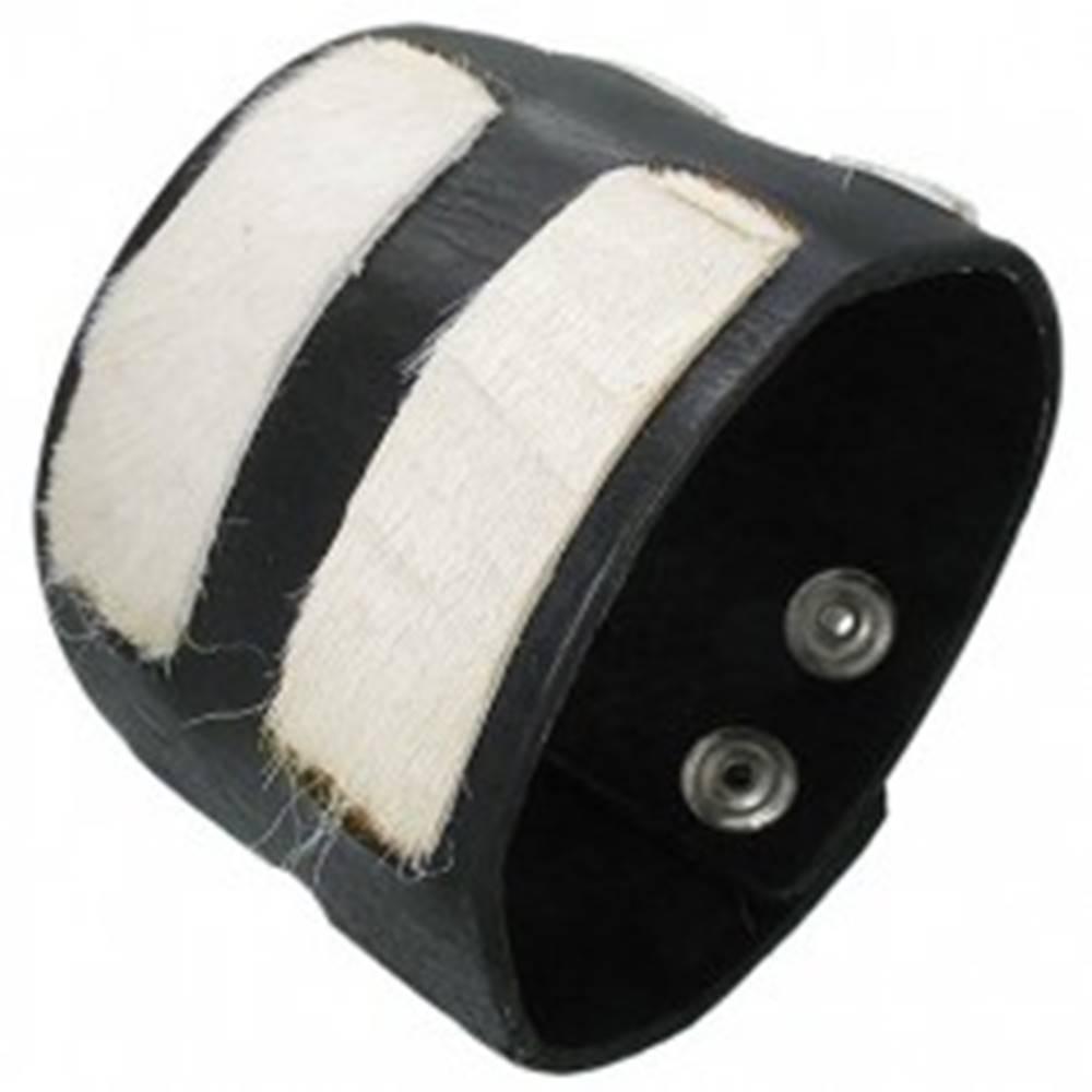 Šperky eshop Kožený náramok - biele kožušinkové pásy