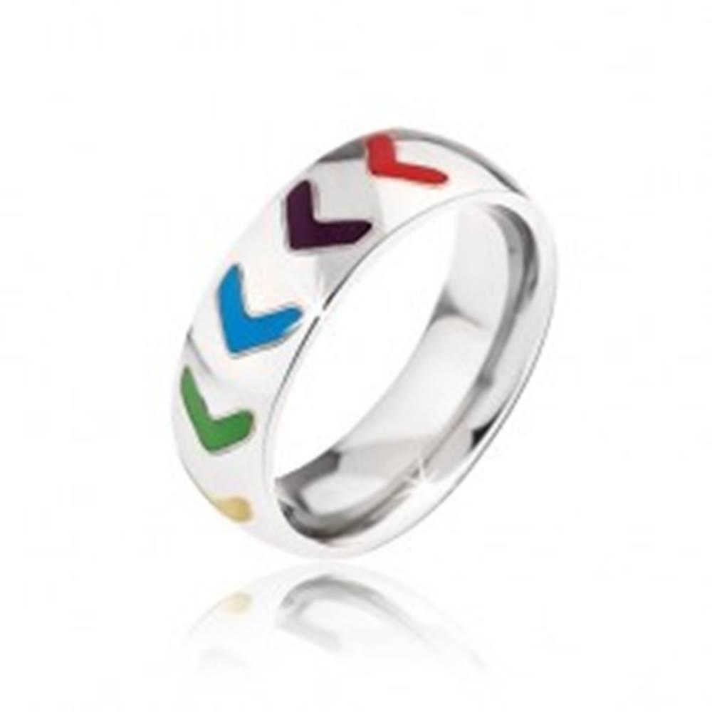 Šperky eshop Lesklá obrúčka z ocele, farebné glazúrované šípky - Veľkosť: 52 mm