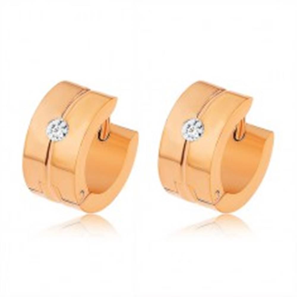 Šperky eshop Lesklé oceľové náušnice medenej farby, zvislý zárez, trblietavý zirkón