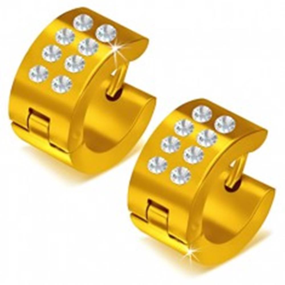 Šperky eshop Lesklé okrúhle oceľové náušnice zlatej farby, číre kamienky