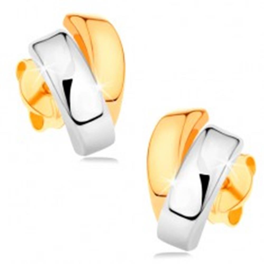 Šperky eshop Ligotavé náušnice zo 14K zlata - dvojfarebné zahnuté línie, puzetové zapínanie