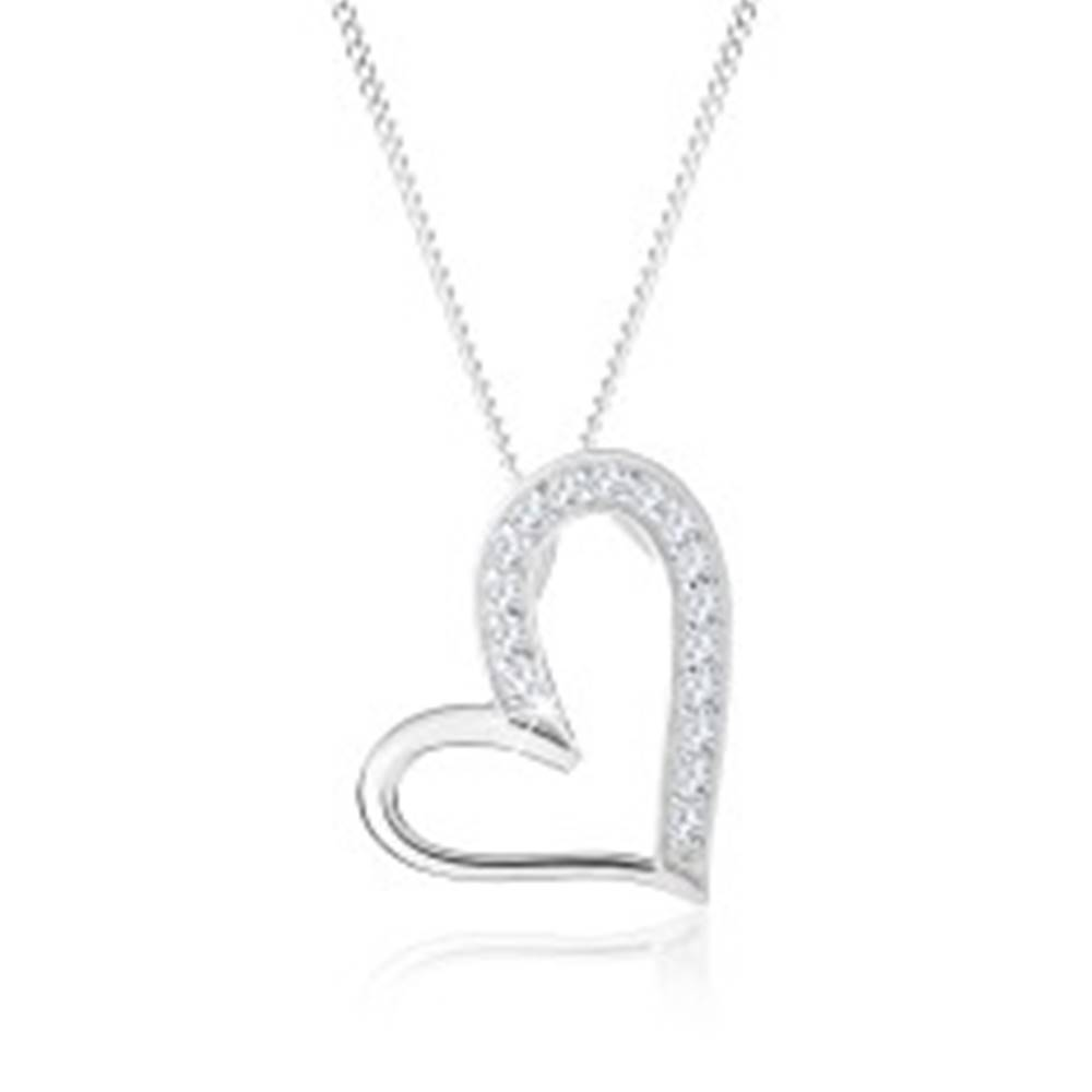 Šperky eshop Náhrdelník zo striebra 925, asymetrický obrys srdca, číre zirkóniky