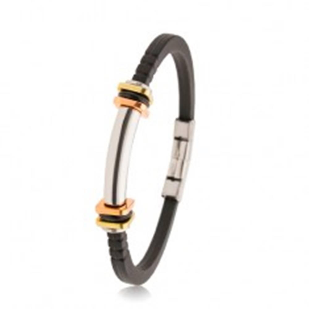 Šperky eshop Náramok z čiernej gumy so zárezmi, oceľový valček, dvojfarebné štvorce