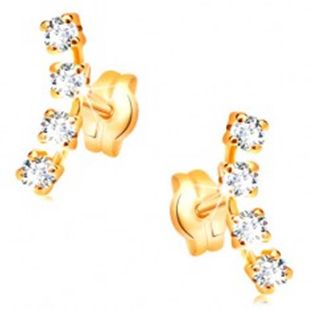 Šperky eshop Náušnice v žltom 14K zlate - oblúk zo štyroch drobných čírych zirkónov