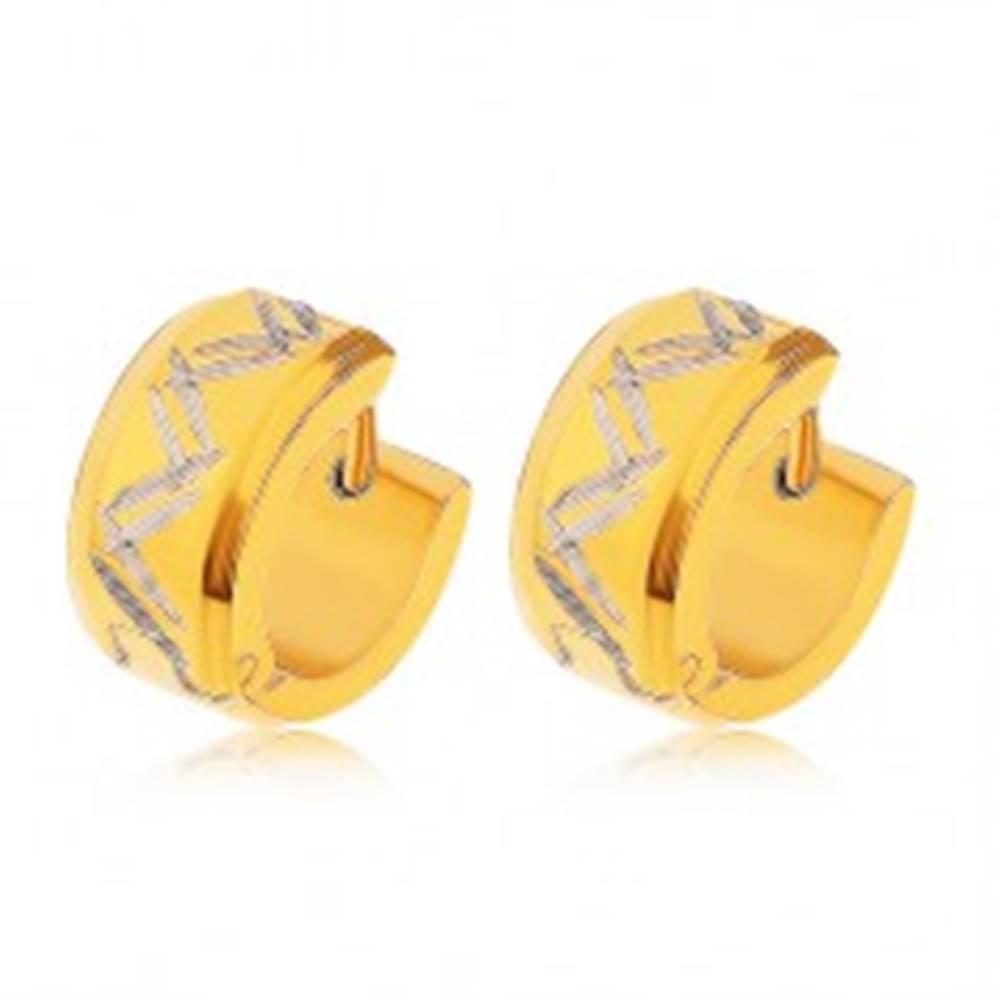 Šperky eshop Náušnice z ocele 316L v zlatej farbe, dvojitý cik-cak vzor