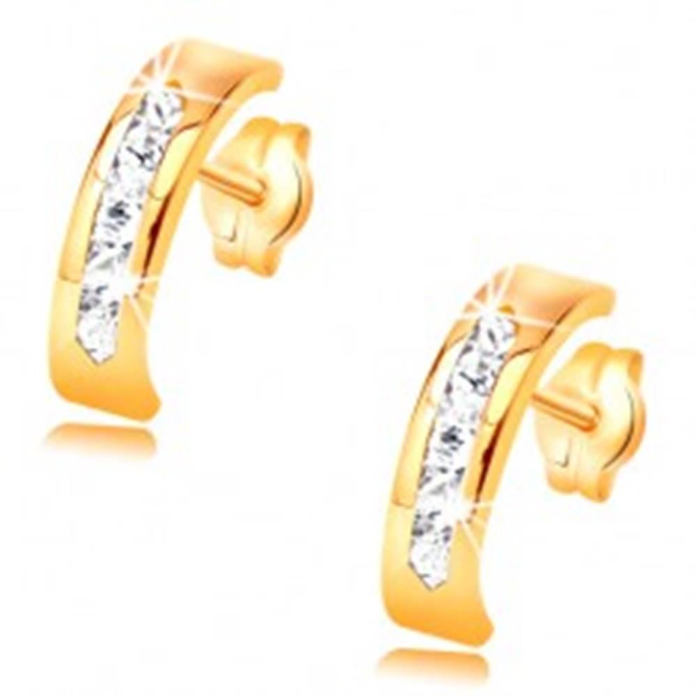 Šperky eshop Náušnice zo žltého 14K zlata - oblúk zdobený líniou čírych zirkónov