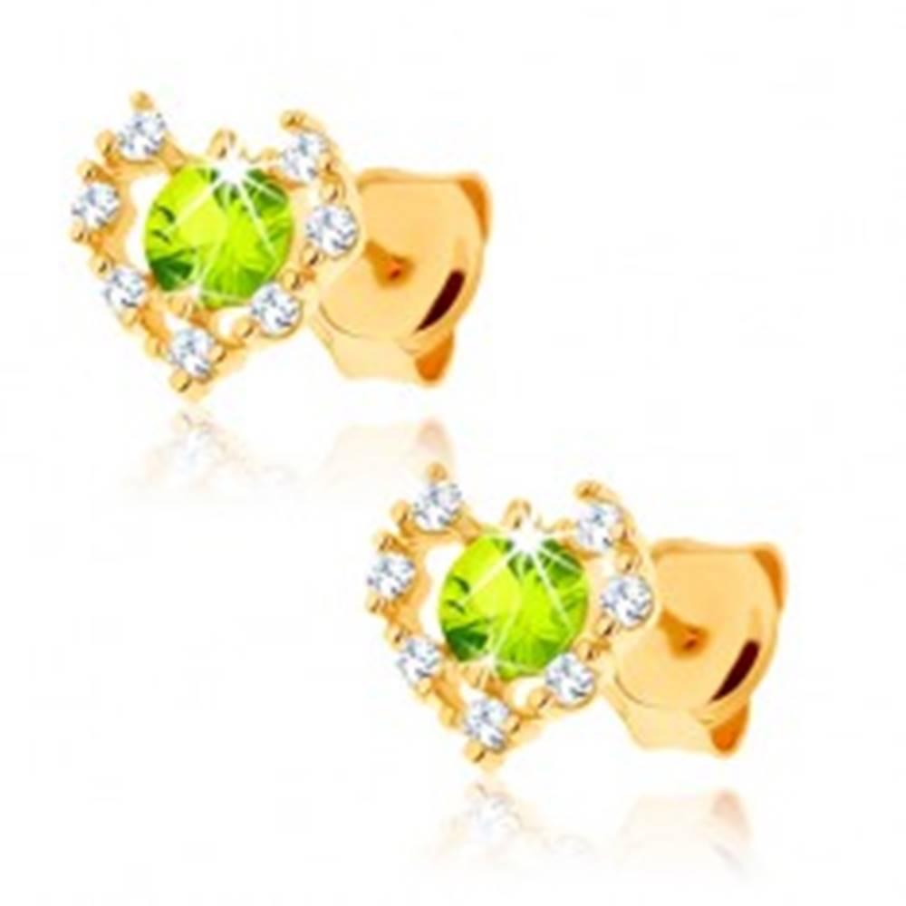 Šperky eshop Náušnice zo žltého 9K zlata - číry zirkónový obrys srdca, zelený olivín