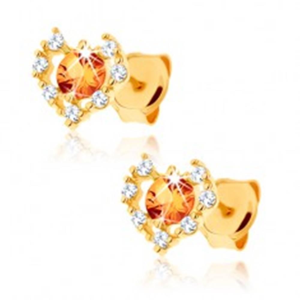 Šperky eshop Náušnice zo žltého 9K zlata - číry zirkónový obrys srdca, žltý citrín