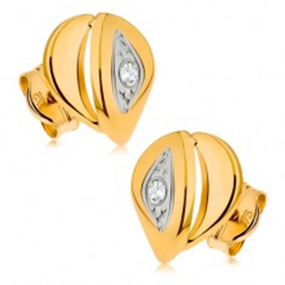Šperky eshop Náušnice zo žltého 9K zlata - slza tvorená z dvoch častí, číry zirkónik, ródiované