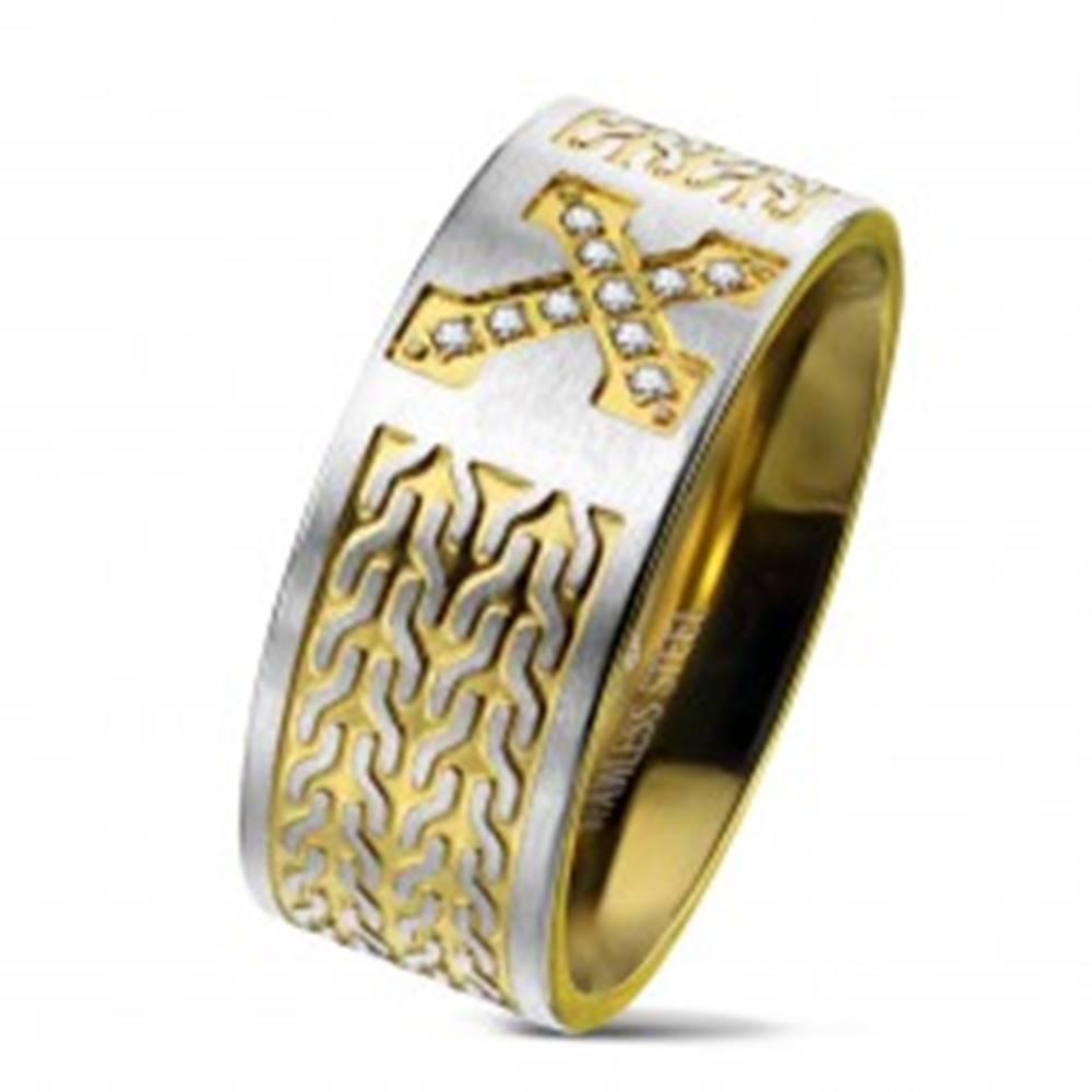 Šperky eshop Obrúčka z chirurgickej ocele, kríž so zirkónmi, retiazkový vzor, 9 mm - Veľkosť: 60 mm