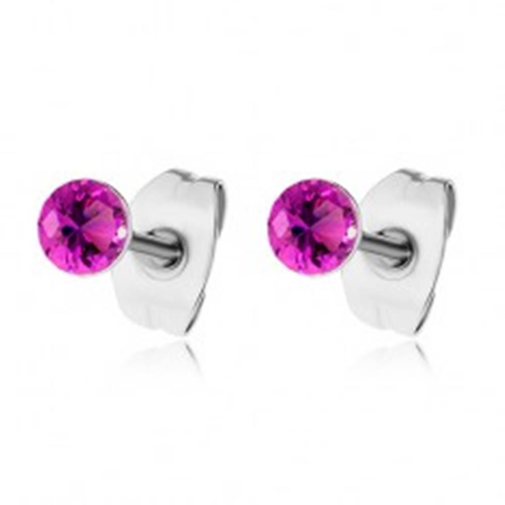 Šperky eshop Oceľové náušnice, okrúhle ligotavé zirkóny fuksiovej farby, puzetky