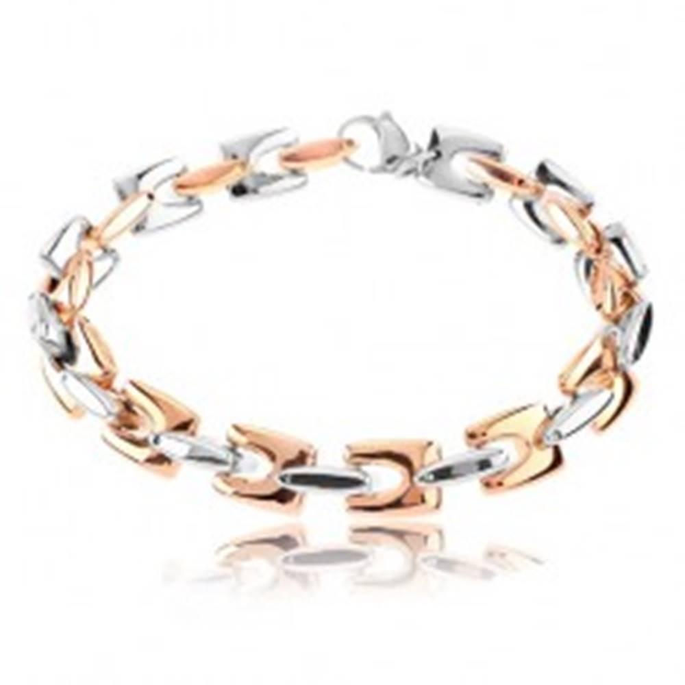Šperky eshop Oceľový náramok, lesklé hranaté články medenej a striebornej farby, 9 mm