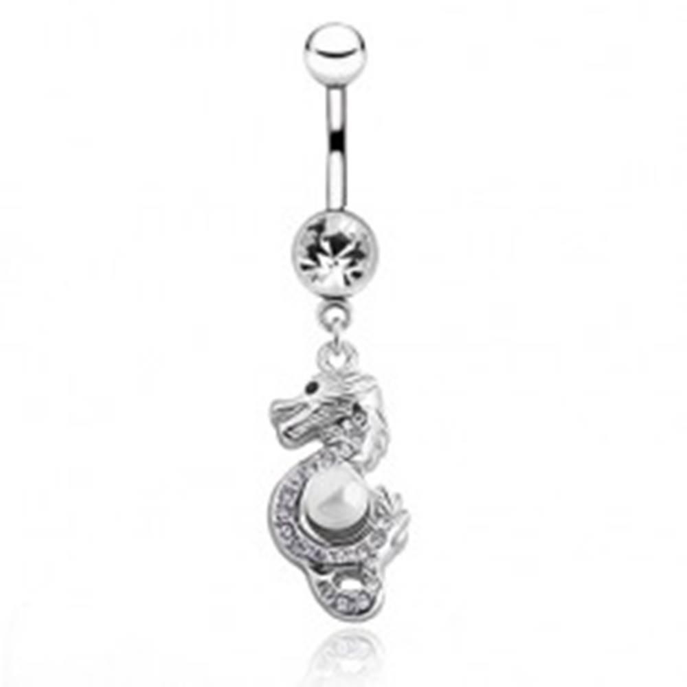 Šperky eshop Oceľový piercing do pupku - čínsky drak s perličkou