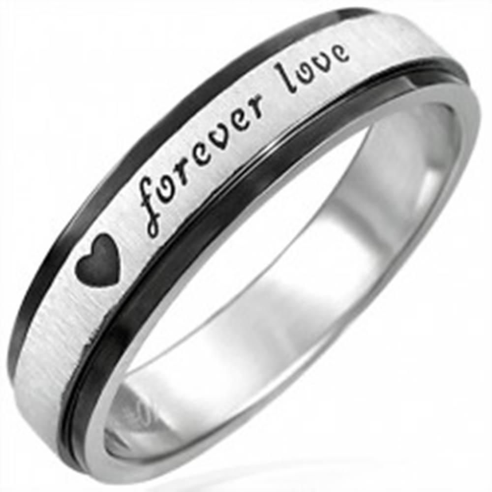 Šperky eshop Oceľový prsteň s čiernymi krajmi, Forever Love - Veľkosť: 51 mm