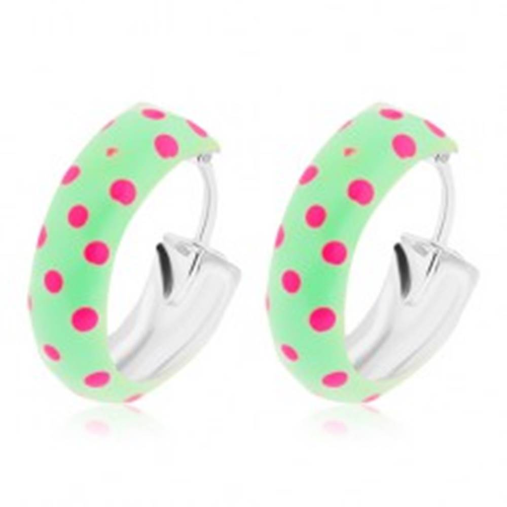 Šperky eshop Okrúhle strieborné 925 náušnice, zelená glazúra s ružovými bodkami, 14 mm