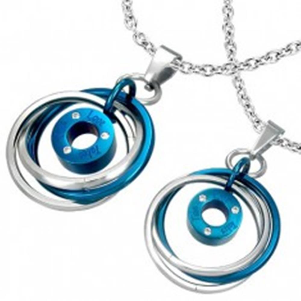 Šperky eshop Prívesok pre dvoch - prepletené prstence, nápis, zirkóny
