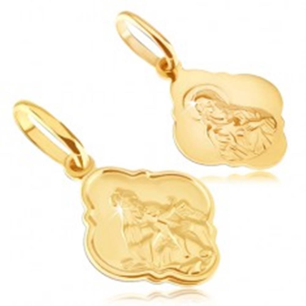 Šperky eshop Prívesok zo 14K zlata - matný medailón s Kristom a Madonou