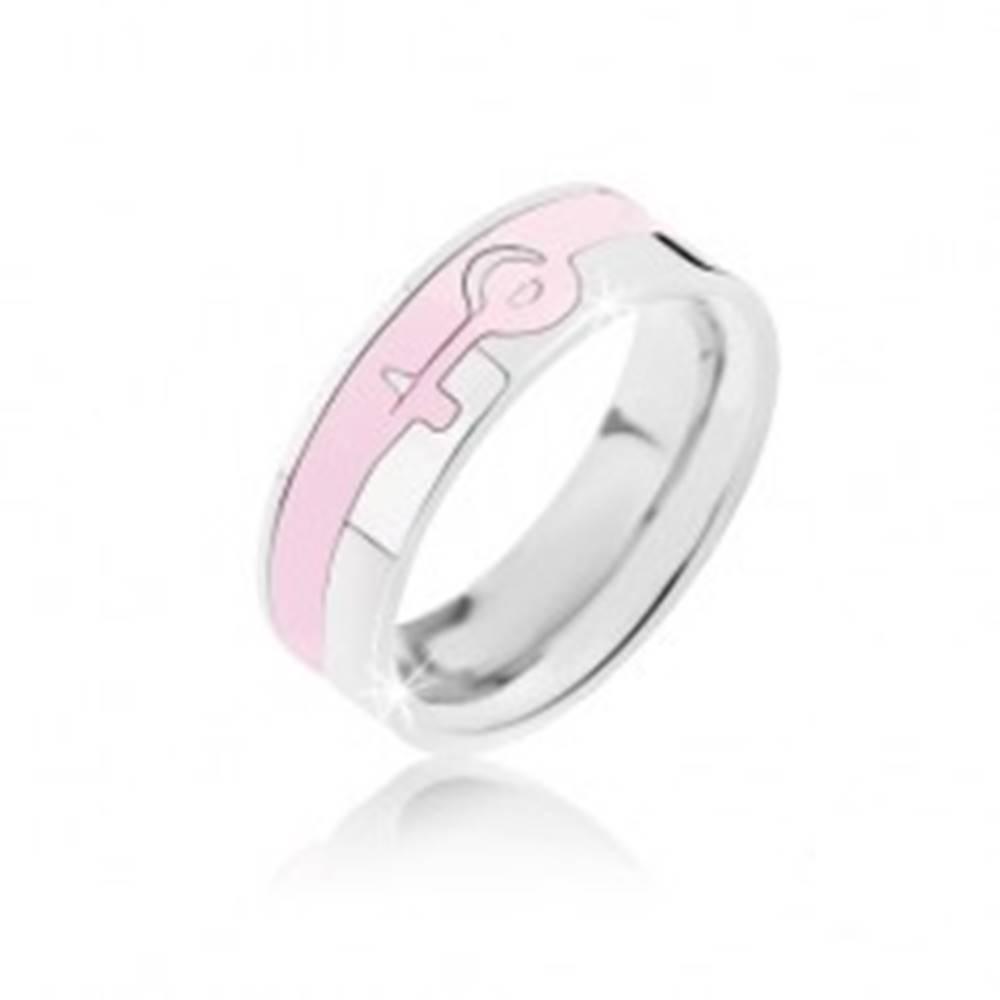Šperky eshop Prsteň strieborno-ružovej farby z ocele - ženský symbol - Veľkosť: 52 mm