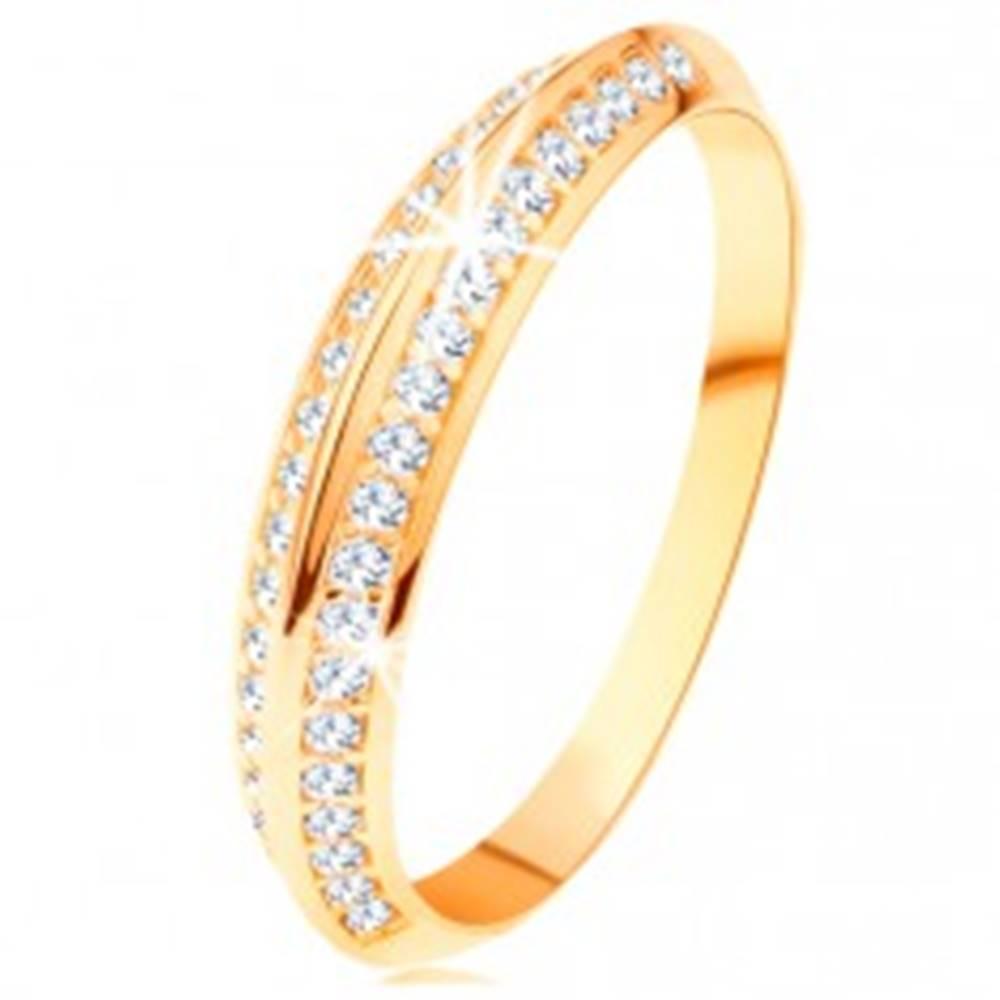 Šperky eshop Prsteň v žltom 14K zlate, skosené trblietavé ramená, lesklé hladké línie - Veľkosť: 49 mm