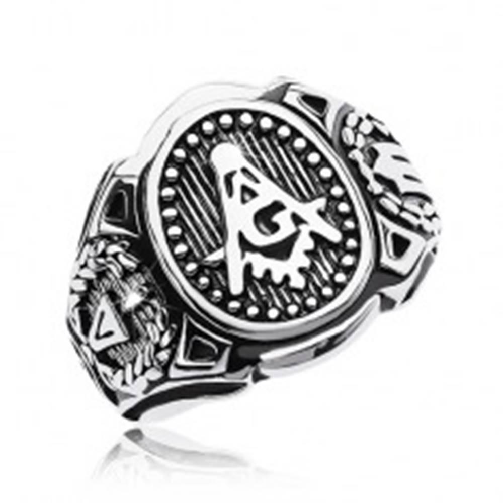 Šperky eshop Prsteň z chirurgickej ocele, veľký ovál a symboly slobodomurárov - Veľkosť: 58 mm
