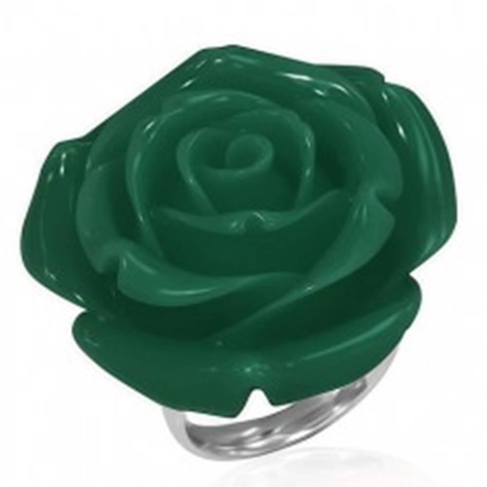 Šperky eshop Prsteň z chirurgickej ocele - zelená ruža, živica - Veľkosť: 49 mm