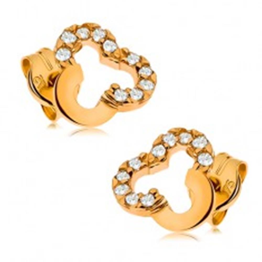 Šperky eshop Puzetové náušnice v žltom 9K zlate - obrys trojlístka zdobený čírymi zirkónmi