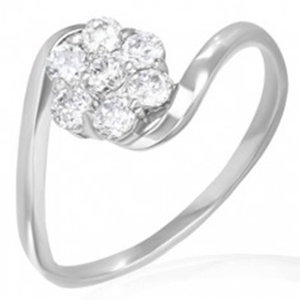 Šperky eshop Snubný prsteň - dúhový kvietok zo zirkónov - Veľkosť: 50 mm