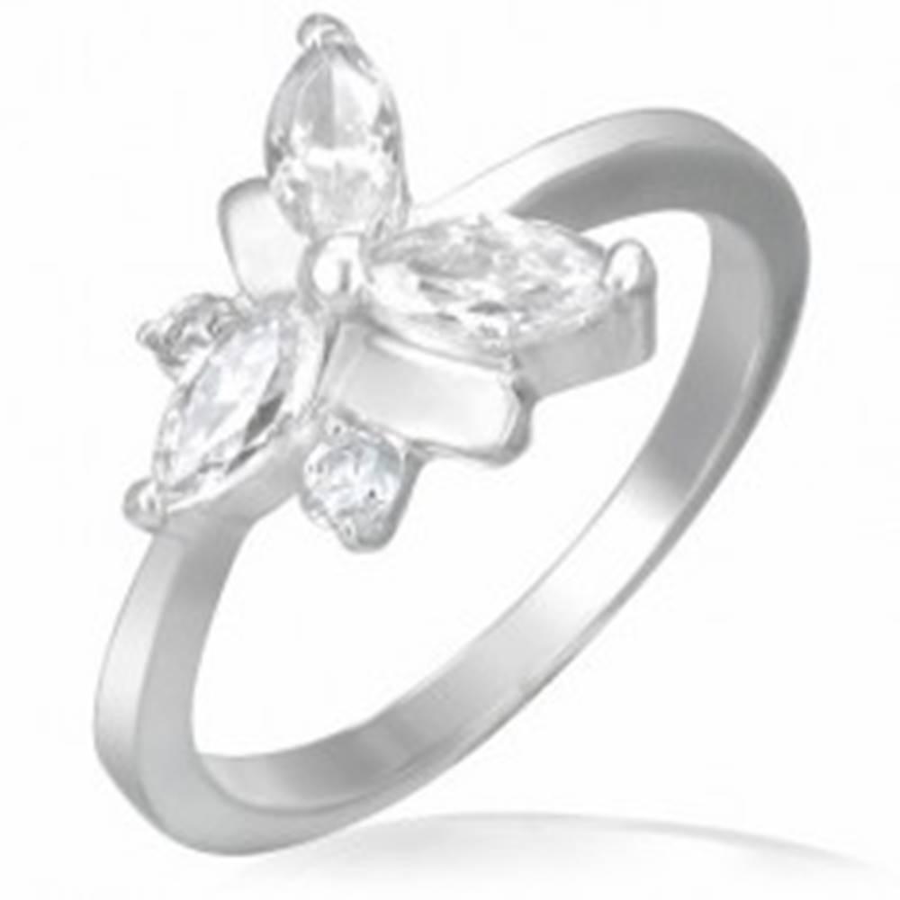Šperky eshop Snubný prsteň, oceľovo - zirkónový motýlik - Veľkosť: 48 mm