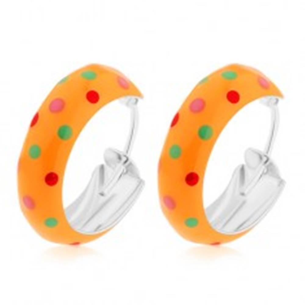 Šperky eshop Strieborné 925 náušnice, malé kruhy, oranžová bodkovaná glazúra, 14 mm